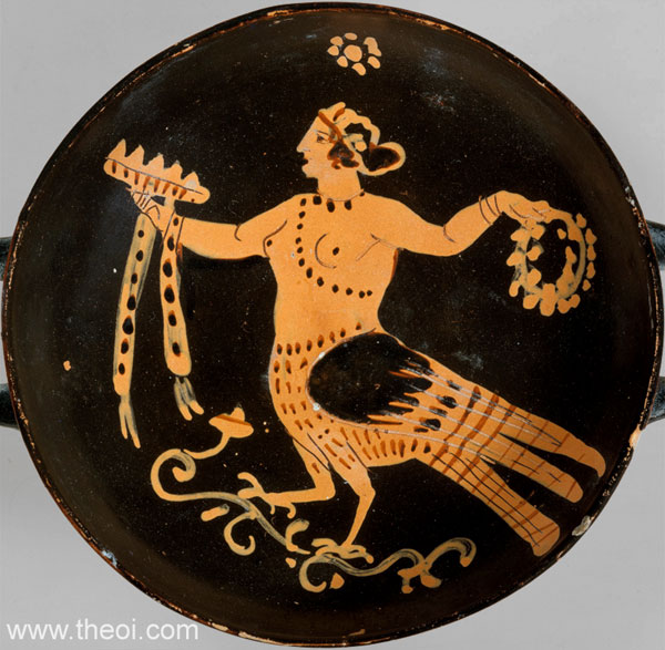 Decorative Siren | Paestan red-figure kylix C4th B.C. | Metropolitan Museum of Art, New York