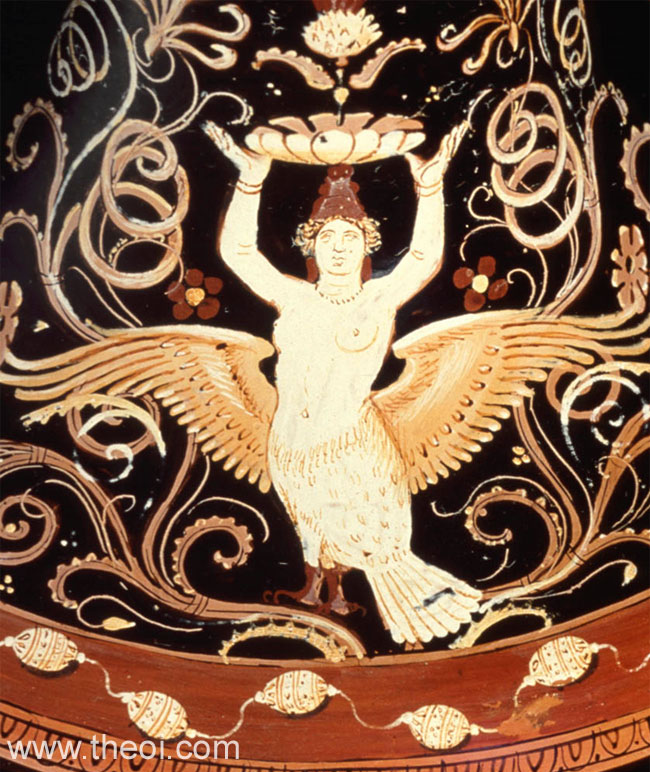 Decorative Siren | Apulian red-figure loutrophoros C4th B.C. | The J. Paul Getty Museum, Malibu