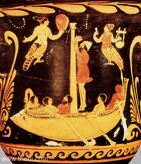 Odysseus and the Sirens | Paestan red-figure bell krater C4th B.C | Antikensammlung Berlin