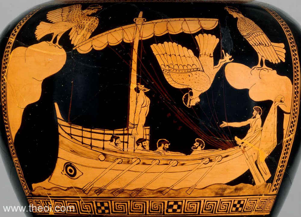 Odysseus and the Sirens | Athenian red-figure stamnos C5th B.C. | British Museum, London