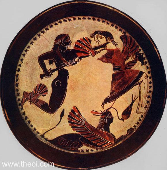 Boreads chasing Harpies | Laconian black-figure kylix C6th B.C. | National Etruscan Museum, Rome