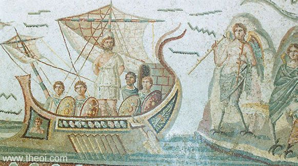 Odysseus and the Sirens | Greco-Roman mosaic from Dougga | Bardo National Museum, Tunis