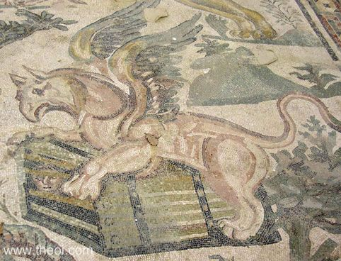 Griffin guarding chest | Greco-Roman mosaic C4th A.D. | Villa Romana del Casale, Piazza Amerina