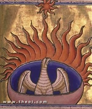 Phoenix | Aberdeen Bestiary manuscript (1200) | Aberdeen University Library
